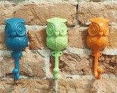 3 Owl Hooks -- 23 Colors -- Mod Cloth Inspired -- Shabby Chic / Rustic / Girls Room / Bathroom Hook-- Mod Cloth Inspired