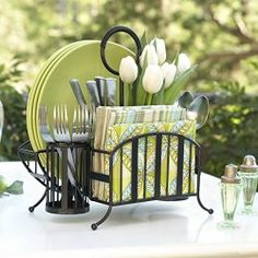 With the Mesa Delaware Collection Picnic Caddy, you can stylishly decorate your tabletop for a fun outdoor picnic. The antique black finished caddy can hold napkins, cutlery and plates. This product is made of wrought iron. Perfect for kitchen or Bath. Silverware Caddy, Utensil Caddy, Table Caddy, Utensil Holder, Flatware Storage, Plate Organizer, Organizers, Home Decor Ideas, Diy Home