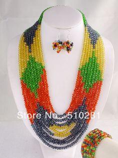 Free Shipping!!! LK-123 Luxury Wired Crystal Necklace Bracelet Earrings African Wedding Jewelry Set $66.58