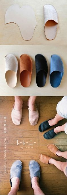 How to DIY Simple Pattern Home Slippers - diy clothes Recycling Ideen Sewing Hacks, Sewing Crafts, Sewing Projects, Diy Projects, Diy Clothing, Sewing Clothes, Diy Vetement, Shoe Pattern, Leather Craft