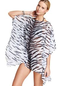 8dcc49405045 Michael Kors Sambura Tiger Caftan Tunic Cover Up – Beach Chain Girl Bandeau  One Piece Swimsuit