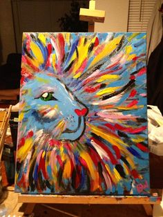 My Big Girly Lion: DIY canvas painting | Eleven Simple Love