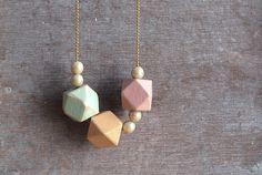 Geometric spring pastels Shabby / Minimal style jewelry // wood bead necklace…