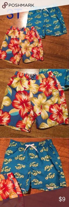 Swim Trunk Bundle SZ 3T Swim Trunk Bundle SZ 3T. Excellent used condition - no tears, stains or holes. Floral is Gap and Turtle is Gymboree. Gymboree Swim Swim Trunks