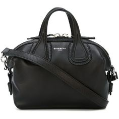 Givenchy micro 'Nightingale' tote (5,780 SAR) ❤ liked on Polyvore featuring bags, handbags, tote bags, black, leather purses, genuine leather purse, zip top tote, leather handbag tote and leather tote purse
