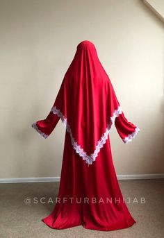 Wonderful oversized red silk dress with wide sleeves decorated by elegant white lace. Red Silk Dress, Lace Dress, Muslim Wedding Dresses, Formal Dresses, Pashmina Hijab Tutorial, Bridal Hijab, Stylish Hijab, White Silk, Muslim Fashion