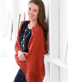 Everyone will compliment you when you wear this lovely knit wrap. The diamond pattern along the edges is easy, and the wrap drapes beautifully.