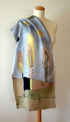 Silk scarf  Hand painted BlackCreamYellowBrownGrey by gilbea
