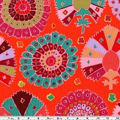 45'' Wide Kaffe Fassett Turkish Delight Red Fabric By The Yard