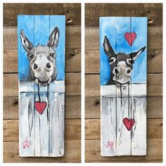 donkeys by Wilma – Nice painted pallet idea - New Deko Sites Pallet Painting, Tole Painting, Painting On Wood, Arte Pallet, Pallet Art, Art Diy, Arte Popular, Horse Art, Animal Paintings