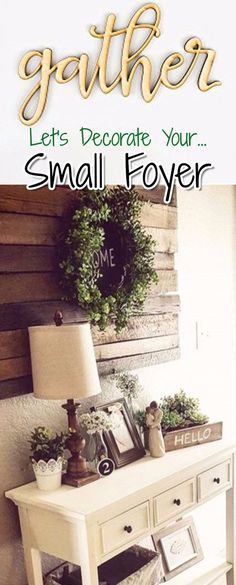 modern farmhouse foyer entryway decorating idea - love the pallet wood wall decor in this small foyer