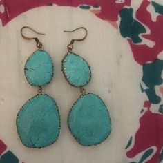 "Turquoise drop earrings Smaller stone with large stone below. Scallop edge. About 2"" in length. Boutique Jewelry Earrings"