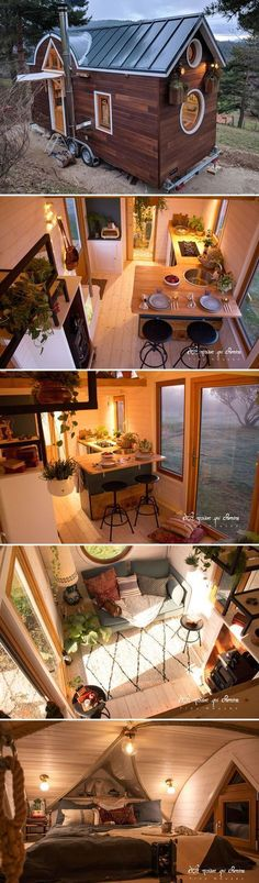 Flore is a beautiful tiny house built by French tiny home bui. Flore is a beautiful tiny house built by French tiny home builder, La Maison Qui Chemine. The home features a unique roofline and round windows. Tiny House Cabin, Tiny House Living, Tiny House Plans, Tiny House On Wheels, Tiny House Design, Home Design, Living Room, Design Ideas, Living Area