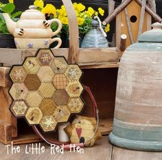 Bsy Bee Wool Mat and Pincushion in Quilting in the Coop by The Little Red Hen. Hexagon Mat