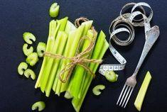 stonkový zeler previazaný vo zvazku metrom, vhodný pri chudnutí Kiwi, Celery, Asparagus, Vegetables, Tableware, Food, Diet, Studs, Dinnerware