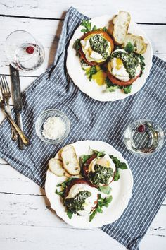 3 Cozy Winter At-Home Brunches: Caprese Eggs Benedict | The Everygirl