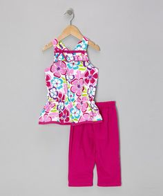 Take a look at this Raspberry Floral Tunic & Capri Leggings - Toddler & Girls by G Relations on #zulily today!