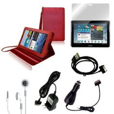 CrazyOnDigital Red Stand Leather Case with Charger and Screen Protector For Samsung Galaxy Tab 2 10.1 (6-item) --- http://www.amazon.com/CrazyOnDigital-Leather-Charger-Protector-Samsung/dp/B0083XTNJU/?tag=ibws-20