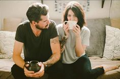 at home engagement session coffee