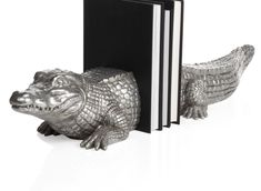 Z Gallerie - Alligator Bookends - Set of 2 - Silver Stylish Home Decor, Affordable Home Decor, Plywood Furniture, Decorative Accessories, Home Accessories, Florida Gators, Uf Gator, Home Accents, Cool Gifts