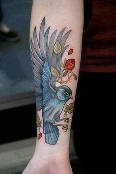 Blue Bird Tattoos on the Arm | Bird Tattoos | Love Birds Tattoo