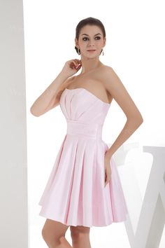 Strapless A-line satin dress with pleats   A-line/Princess,Above the Knee,Strapless,Natural,Sleeveless,Pleats,Sashes/Ribbon,Zipper,Satin,