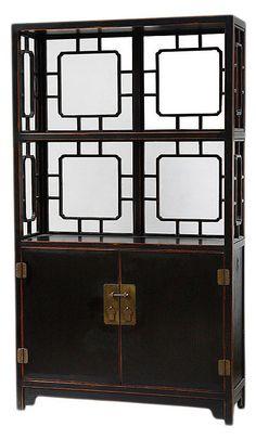 One Kings Lane - Chinoiserie Chic - Window Display Shelf, Distressed Black