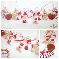 Festive christmas felt garland banner decoration by The Banner Boutique.