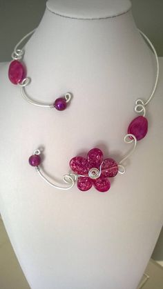 Open collar necklace Wire necklace Wire jewelry Boho Purple Necklace, Purple Jewelry, Funky Jewelry, Wire Necklace, Flower Jewelry, Flower Necklace, Collar Necklace, Bridal Jewelry, Wire Wrapped Jewelry
