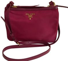 8a53d2f9818a Prada Nylon Leather Ibisco (Pink) Double Zipper Crossbody Bag 1BH046