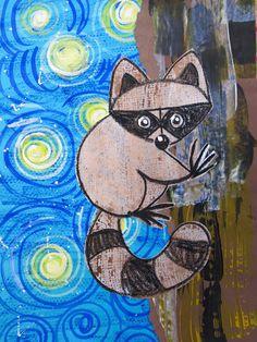 Cassie Stephens: In the Art Room: Charley Harper and van Gogh Mash Up! Animal Art Projects, Fall Art Projects, Diy Projects, Art Lessons For Kids, Art Lessons Elementary, Kindergarten Art, Preschool Art, Third Grade Art, Second Grade
