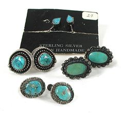 Sterling Silver and Turquoise Lot of 4 Pair Screw-back Earrings E535 Vintage Earrings, Vintage Jewelry, Screw Back Earrings, Drop Earrings, Matrix Color, Native American Earrings, American Indian Jewelry, Native American Indians, Shades Of Blue