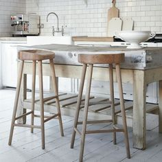elisabeth heier - nice wooden block as table, so guests can   be in kitchen while cooking or can be used as a breakfast bar!