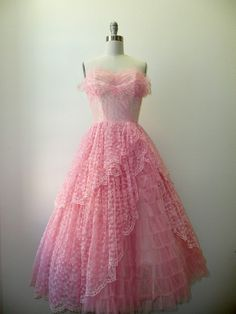 cascading pink tulle prom dress ~ 1950s
