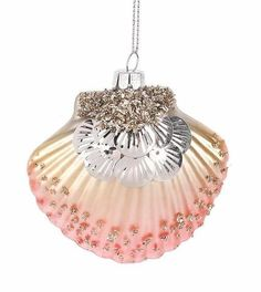 Glass Shell Ornaments embellished with Glitter