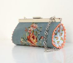 Vintage Embroidery Pouch Clutch Petit Point Embroidery by StarBags