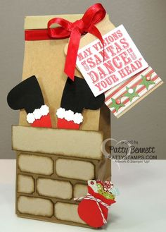 Decorate boxes and bags for Christmas with Santa in the Chimney punch art featuring the Ticket Duo Builder punch for the bricks, and the owl punch for the gift bag!  by Patty Bennett #stampinup #punchart