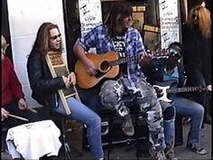 """Charlie Sheldon, Atlantis (1990) Charlie, Jed Chrysler, Erik Tunison, Freddy Lee and friends outside of Earwaves Record store, on Farwell Ave. in Milwaukee in 1990 - Posted  by Mike L Podolak to the """"Lest We Forget"""" group"""