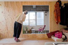wooden box-like living-bedroom small budget apartment renovation