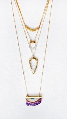 Layered Gold Hammered Bar Necklace, Crystal Point Necklace, Crystal Quartz Arrowhead Necklace, and Raw Amethyst Slice Necklace Long | Kei Jewelry