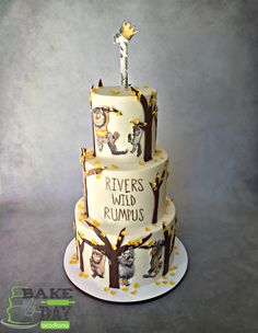 River's Wild Rumpus - Where The Wild Things Are buttercream first birthday cake, with hand painted monsters, fondant trees and leaves. Simple, clean and modern design.