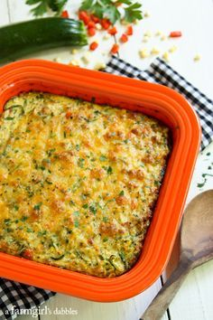 Cheesy Zucchini Noodles Bake with Roasted Corn and Red Pepper - afarmgirlsdabbles.com #zucchini #zucchininoodles @farmgirlsdabble