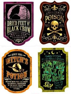 Potion labels for Halloween Party foods and beverages. Halloween Tags, Retro Halloween, Halloween Prop, Halloween Apothecary Labels, Halloween Bottle Labels, Halloween Potions, Halloween Projects, Holidays Halloween, Halloween Decorations