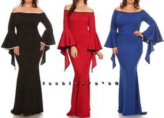 1b0367d9b5f3 Plus Size Wide Bell Sleeve Mermaid Maxi Dress Cutout Cold Shoulder Gown |  eBay