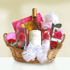 Tranquil Rose Spa and Wine Gift Set