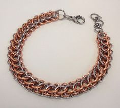 Mens unique design Bracelet, Stainless Steel Chainmaille, Mans Copper Chain Mail,  Mens Jewelry, Half Persian Chainmail, Copper Gift for Men by JCLeecollection on Etsy