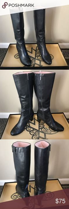 """Taryn Rose Black Leather Boots These gorgeous pair of Taryn Rose Boots are classic with a 2 1/2"""" heel are very comfortable.. Taryn Rose Shoes Heeled Boots"""