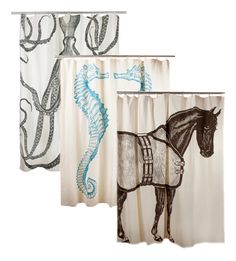 Luxury Horse, Seahorse and Octopus Shower Curtains