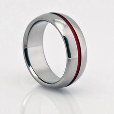 Titanium Band - Domed Profile - One Wide Red Pinstripe  www.classictitanium.com