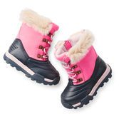 Lace-up snow boots keep her warm and dry while she plays in a winter wonderland. Extra deep treads help her grip on slippery surfaces.